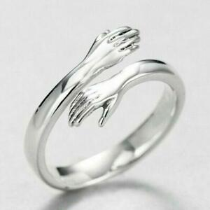 Unique Silver Plated Hand Hug Open Ring for Women&Men Wedding Party Band Jewelry