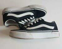 Kids Vans Old Skool Trainers UK 11 EU 28 Black White Lace Up Canvas Shoes Childs