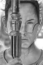 "Star Wars Rey Daisy Ridley 8x12"" Stretched Canvas Art Print"