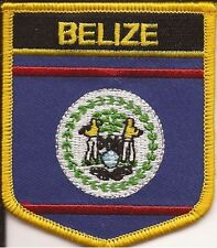 """BELIZE SHIELD FLAG EMBROIDERED PATCH - IRON-ON - NEW APPROX 2.5 x 2.75"""""""
