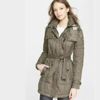 Burberry Brit Finsbridge Quilted Coat Sz L Belted Removable Hood Olive Green B69