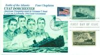 USAT DORCHESTER SINKING ATLANTIC Four Chaplains #956 Image Cachet First Day PM