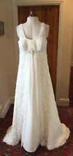 IVORY LACE & CHIFFON EMPIRE LINE WEDDING DRESS BY ANNAIS BRIDAL - SIZE M