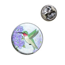 Hummingbird with Hydrangeas Lapel Hat Tie Pin Tack