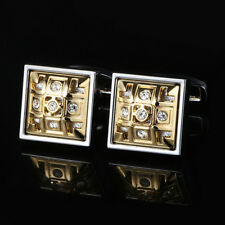 Hollow Gold Plated French Cufflinks Diamond Mens Cuff Buttons Wedding Gift