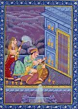 Love Scene Colarge Miniature Painting Handmade Rare Mughal Romance Decor Art