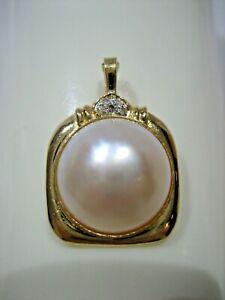 ESTATE VINTAGE 14K YELLOW GOLD 13mm MABE PEARL DIAMOND ENHANCER PENDANT