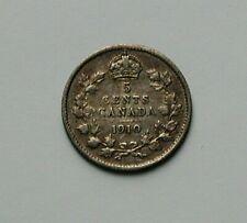 1910 CANADA Edward VII Tiny Silver Coin - 5 Cents - toned