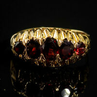 Antique Edwardian Five Stone Old Cut Garnet 9ct Yellow Gold Ring