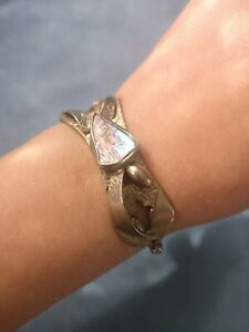 Vintage Hand Made Cutlery  Hinged Bangle Bracelet Set with Abalone Shell