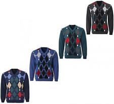 Mens Knitted Jumper Diamond Pattern V Neck Long Sleeves Knit Top