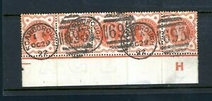 GB 1887 1/2d Orange Jubilee Strip of (5) Slight Foxing posted at ...  (O430)