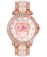 Betsey Johnson Owl Rhinestone and Glitter Rose Gold-tone Bracelet Watch 40mm