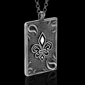 Mens Fleur De Lis Dog Tag Oxidized Silver Pendant 925k Necklace Sterling Gift