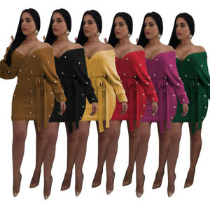 New Fall Women Polka Dot Sexy Strapless Knot Side Long Sleeve Mini Sweater Dress