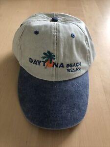 New Adjustable Strapback Cap Hat Daytona Beach Florida 90s Denim Canvas Cotton