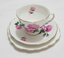 ROYAL VALE Fine English Bone China Pink Roses Patent 8217 Trio Cup Saucer Plate