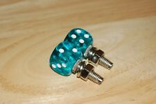 DUDDS DICE AQUA GEM w/WHITE DOTS LICENSE PLATE BOLTS (SET OF 2)