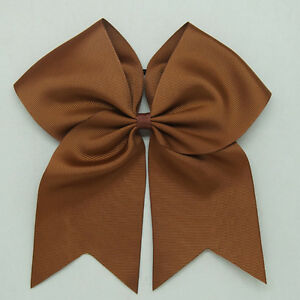 8 Inch Solid Colors Cheer Hair Bows with Elastic Band PonyTail Cheerleading CB01