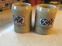 (2) Vintage Gerz Hacker - Pschorr Brau Munchen .5L German Ceramic Beer Stein Mug