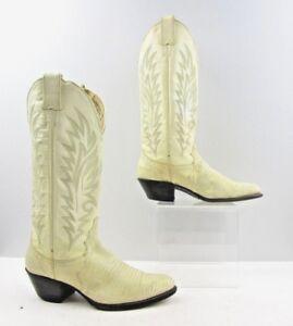 Ladies Justin Beige Lizard Leather Cowboy Western Boots Size: 6.5 B