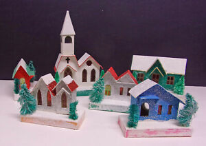 6 Vintage Mica Putz HOLIDAY CHRISTMAS CARDBOARD VILLAGE HOUSES Made in JAPAN