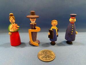 ERZGEBIRGE Miniature Figurines VERO East Germany Carved Wood Set of 4