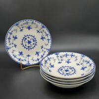 Vtg Set of 5 Maruta Delft Blue Pattern Blue & White Soup / Salad Bowls ~Japan