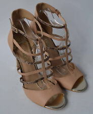 Ladies Biba Beige Nude & Snakeprint Leather Heeled Sandals Shoes Size Uk 8 Eu 41