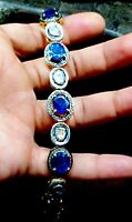 Natural Sapphire Gemstone 925 Sterling Silver,Pave Diamond Gold Plated Bracelets