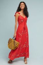 NWT ANTHROPOLOGIE by FARM RIO Quintana Maxi Dress Bright Red Size Small