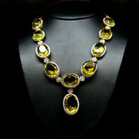 "REAL 19X29mm - 17X19 mm LEMON QUARTZ, WHITE TOPAZ ZIRCON NECKLACE 21"" 925 SILVER"