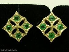 E21E Genuine 9K  Solid Yellow GOLD Natural EMERALD Stud EARRINGS
