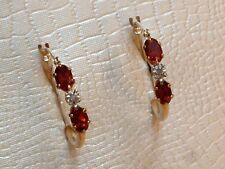 Exclusive Granat & Diamant Creolen - 9 Kt. Gold - 375 - Ohrringe - Oval Schliff