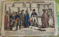 Napoleón en la Pirámides cuando l'entrega de Egipto a 1798 Antigua Grabado