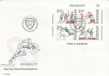 SWEDEN :1986 Athletics Miniature Sheet illustrated First Day Cover SGMS1314