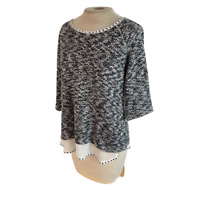Style & Co Knit Sweater Top Black White M Medium