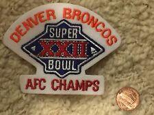 "Super Bowl XXII (22) 3 1/4"" Patch Denver Broncos AFC Champs Football"