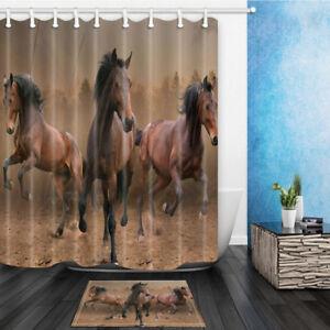 "Animal Horse Art Bathroom Shower Curtain Waterproof Fabric 71"" Various Pattern"