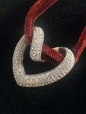 925 silver Pave Swarovski dazzling Large Heart Pendant velvet chocker Ali Khan