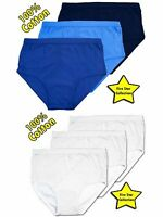 1 Mens Y Fronts 100% Cotton Interlock Briefs Underwear / White Blue / All Sizes
