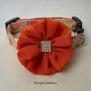 Pretty Girl Floral Dog Collar With Bow Size XS-L by Doogie Couture