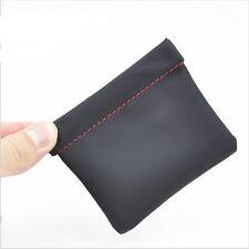 Earphone Accessories Case PU Leather Earphone Case Portable Headphone Bags Black