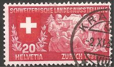 "Switzerland Stamp - Scott #251/A73 20c Lake & Red ""Swiss Family"" Canc/LH 1939"
