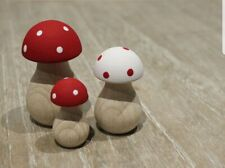 Toadstool Mushroom Wooden Decor Red & White Hand Painted