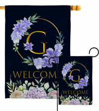 Welcome G Initial Garden Flag Floral Spring Decorative Gift Yard House Banner