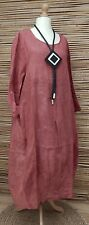 LAGENLOOK*BELLA BLUE*100% LINEN AMAZING ACID WASHED LONG DRESS*ROUGE*Size L-XL