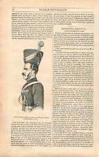 Portrait officier Cosaque Uniforme Grande Tenue à Kamenskaïa Russie GRAVURE 1839