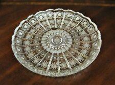 "Bohemian Czech Vintage Crystal 11"" Round Platter Hand Cut Queen Lace 24% Lead"