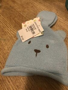 Little Me Toddler Teddy Bear Hat And Mittens Set Blue Size 3M-9M 514